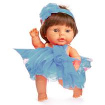 babypop 22 cm meisjes vinyl/textiel bruin/blauw