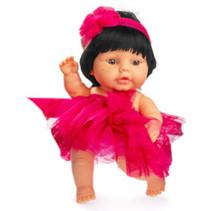 babypop 22 cm meisjes vinyl/textiel zwart/rood