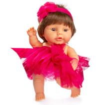 babypop 22 cm meisjes vinyl/textiel bruin/rood