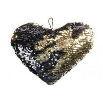 knuffel pailletten hart meisjes 25 cm zwart