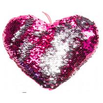 knuffel pailletten hart meisjes 25 cm roze