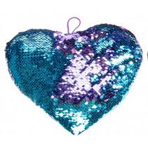 knuffel pailletten hart meisjes 25 cm blauw