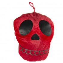 knuffel doodskop 17 x 14 cm pluche rood