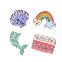 stickers kleding/tas schelp 15 x 11 cm 4-delig