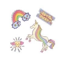 stickers kleding/tas eenhoorn 15 x 11 cm 4-delig