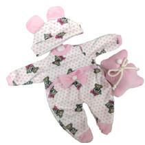 poppenpyjama Smile meisjes 30 cm textiel roze/wit