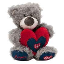 knuffelbeer Love junior 12 cm pluche grijs