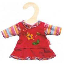 poppenjurkje met shirt rood voor pop van 20-25 cm