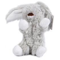 knuffel konijn zittend 12 cm pluche grijs/wit