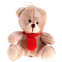 biege knuffelbeer 16 cm met rode sjaal