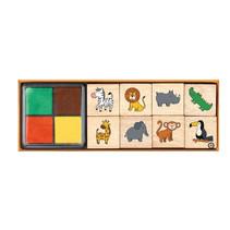 stempelset safari junior 12,5 x 3,5 cm hout 9-delig