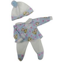 babypopkleding meisjes textiel wit/blauw 3-delig