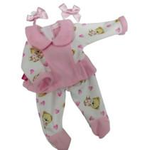 babypopkleding meisjes textiel wit/roze 3-delig