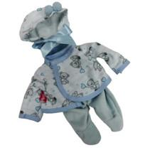 babypopkleding meisjes textiel blauw/wit 3-delig