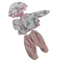 babypopkleding meisjes textiel roze/wit 3-delig