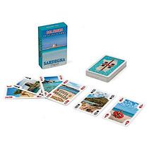 mini-kaartspel Sardinië 8 x 5 cm blauw 55-delig
