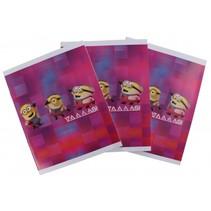 schriften Minions A5 gelijnd roze 3 stuks