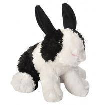 knuffel konijn junior 18 cm pluche zwart/wit