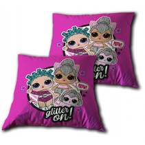 kussen Glitter On junior 35 x 35 cm polyester roze