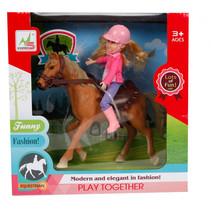 speelset paard meisjes 21 cm roze/bruin 4-delig
