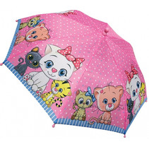 kinderparaplu Kitten meisjes 38 cm polyester roze