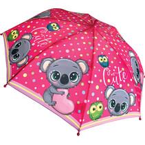 kinderparaplu Koala meisjes 38 cm polyester roze
