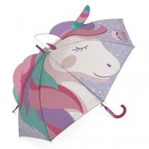 kinderparaplu Unicorn 3D 69 cm polyester roze/paars