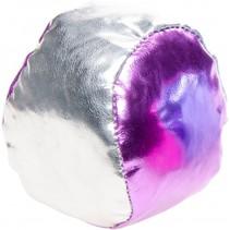jongleerbal metallic 4 cm kunstleer roze/zilver