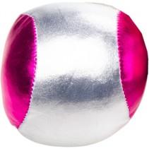 bal voor blikgooien metallic 4 cm zilver/roze per stuk