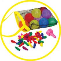 waterballonnen met net en trechter junior latex 50 stuks