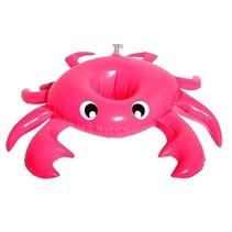Opblaasbare bekerhouder 18 cm Krab roze