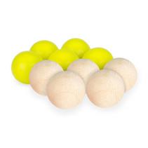 Jeu de Boules set hout 28 mm geel/naturel 10 stuks