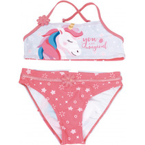 bikini Unicorn meisjes polyester roze/wit