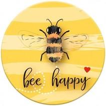 magneet Bee Happy 5,5 cm geel