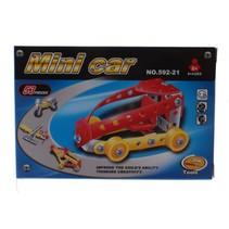bouwdoos Minicar metaal zilver/rood/geel 53-delig