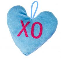 knuffel hartje junior 12 x 13 cm pluche blauw