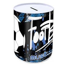spaarpot Voetbal jongens 10 x 15 cm staal zwart/blauw