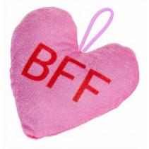 knuffelhartje BFF meisjes 12 x 13 cm pluche roze