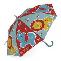 kinderparaplu Friends olifant & leeuw PE rood/blauw