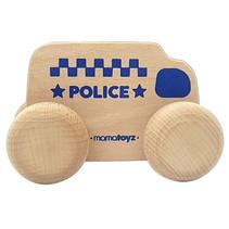 politieauto junior 15 x 8 cm hout naturel/blauw