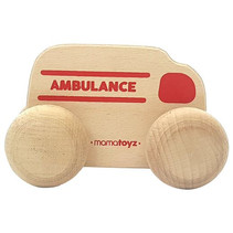 ambulance junior 15 x 8 cm hout naturel/rood