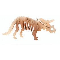 3D-puzzel triceratops 11 x 15 cm hout bruin
