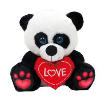 knuffelpanda met hartje junior 12 cm zwart