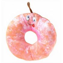 knuffel donut junior 15 cm pluche roze/oranje