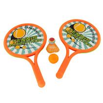 beachballset Tennis 39 x 24 cm oranje/groen 4-delig