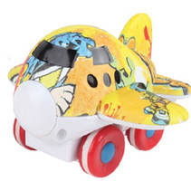 vliegtuig cartoon junior 9 cm geel/rood