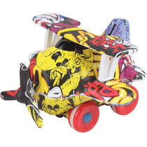propellervliegtuig graffiti junior 9 cm zwart/geel/rood