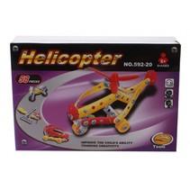 bouwdoos Helicopter metaal zilver/geel/rood 58-delig