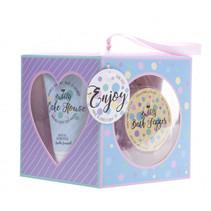 badgeschenkset Cake House 4-delig paars/blauw
