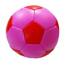 speelbal Soft junior 10 cm kunstleer roze/zwart
